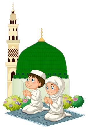 Twee moslimjonge geitjes die bij moskeeillustratie bidden Stock Illustratie