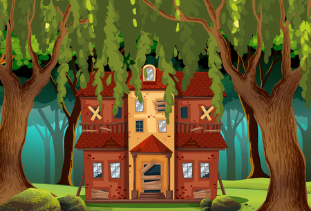 Haunted house in the forest illustration Illustration