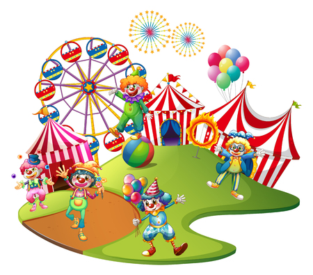 Clowns performing in the circus illustration Çizim