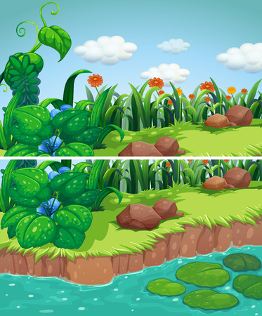 Two scenes of park with flowers and river illustration Illustration