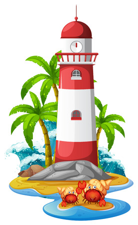 Lighthouse and hermit crabs on beach illustration.