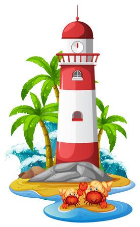 Faro y cangrejos ermitaños en la ilustración de la playa. Ilustración de vector