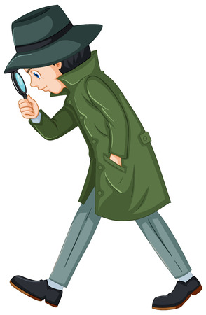 Detective in green overcoat with magnifying glass illustration.