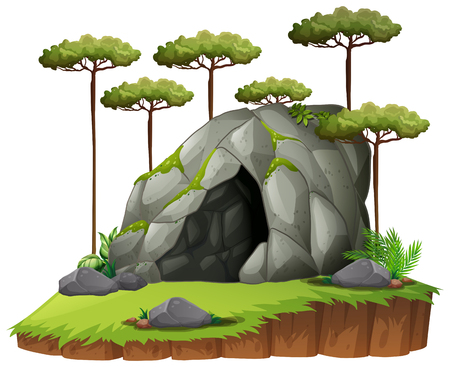 Scene with cave and trees illustration.