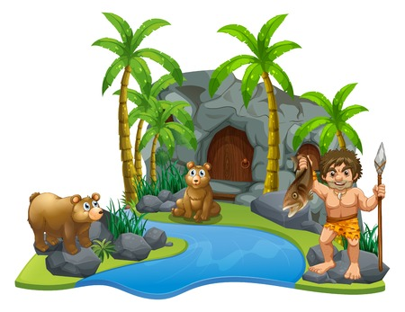 Caveman and two bears by the river illustration.