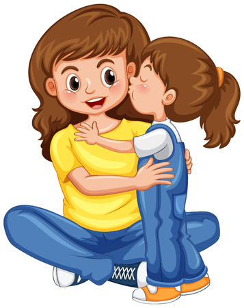 Daughter kissing her mother illustration.