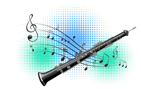 flute: Flute with music notes in background illustration. Illustration