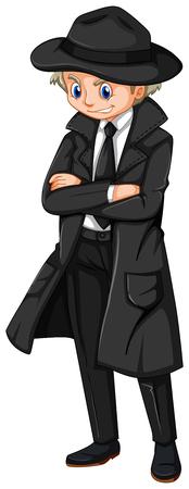 Male detective in black overcoat illustration. Illustration