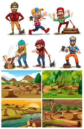 Deforestation scenes with lumber jacks illustration. Ilustrace