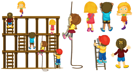 Children climbing up ladder and rope illustration.