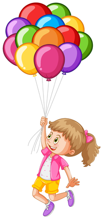 floating: Girl and colorful balloons illustration