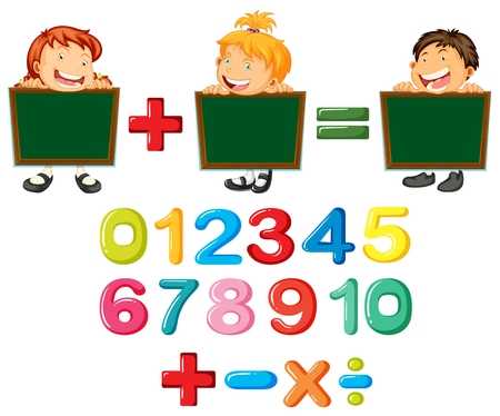 Happy children and numbers illustration Illustration