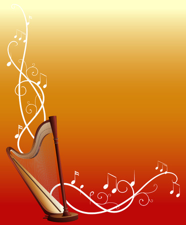 Background template with harp and music notes illustration