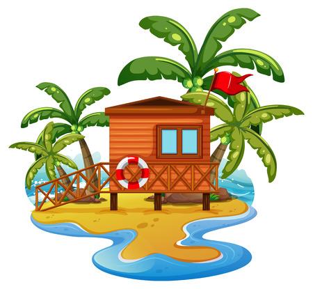 Scene with lifeguard house on beach illustration