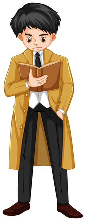 Man in brown overcoat reading book illustration