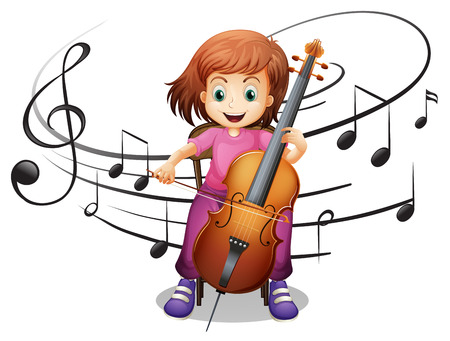 Girl playing cello alone illustration Ilustração