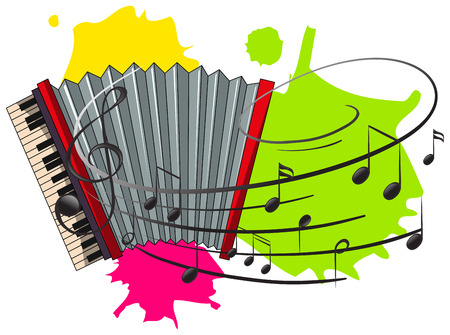Accordion with music notes in background illustration
