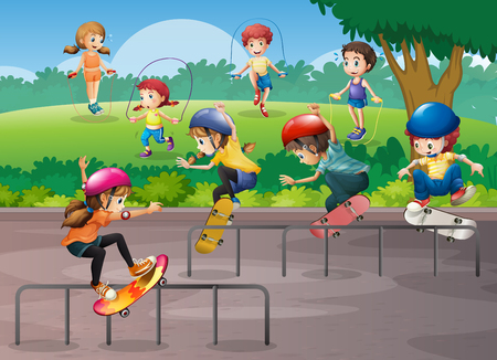 skateboard park: Kids playing different sports in park illustration