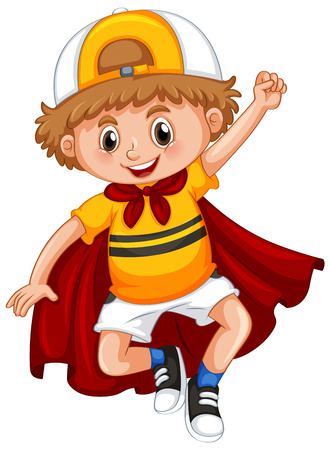 Little boy with red cape illustration