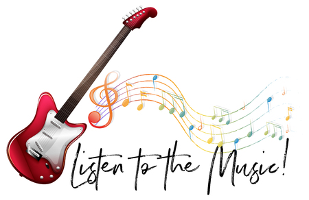 Word expression for listen to the music with music notes in background illustration Çizim