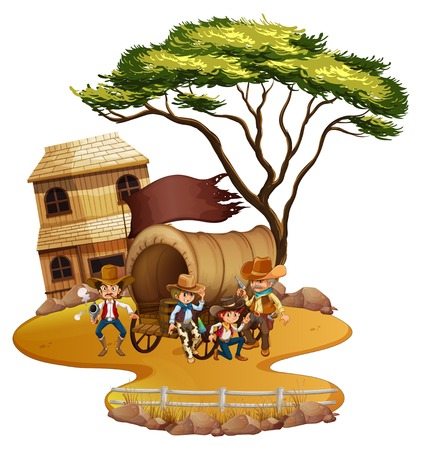 western town: Cowboy town with many people illustration Illustration