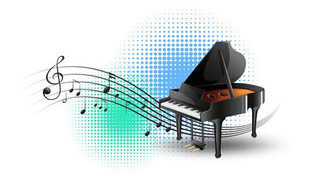 Piano à queue avec des notes de musique en illustration de fond