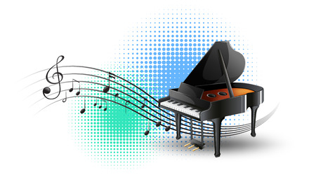 Grand piano with music notes in background illustration Illustration