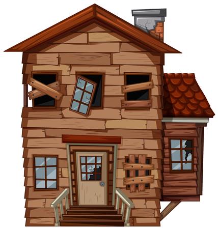 Blokhuis met slechte staat illustratie