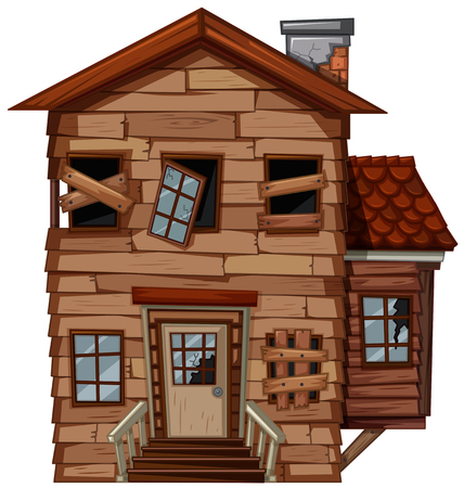 Wooden house with bad condition illustration Banco de Imagens - 84656233