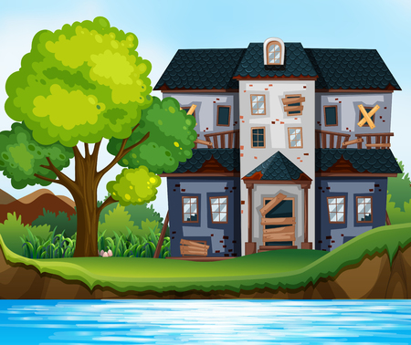 Ruined house by the pond illustration