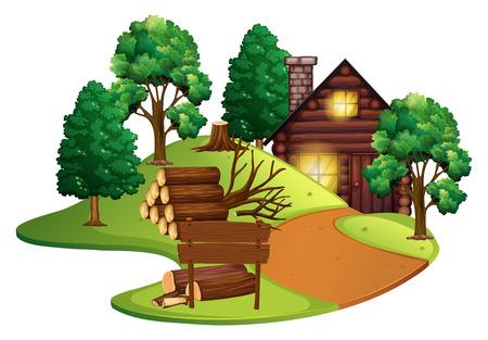 arquitecto caricatura: Cabina de troncos con muchos árboles ilustración