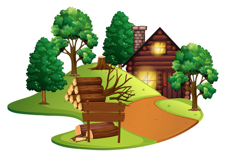 Log cabin with many trees illustration Фото со стока - 84656109