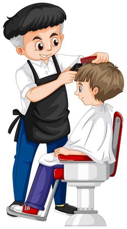 Barber giving boy haircut illustration