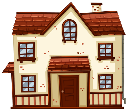 Brick house with red roof illustration