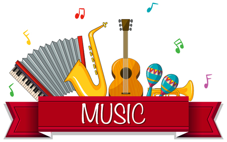 Different types of musical instruments with banner illustration