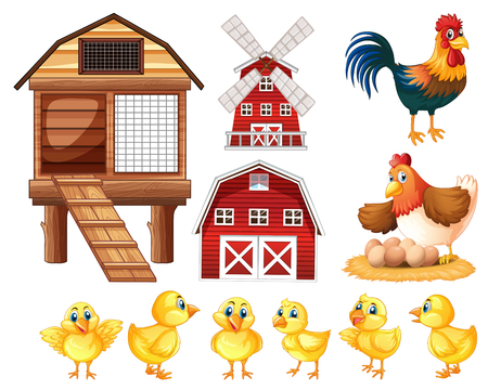 Chickens and cicken coops illustration