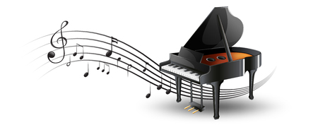Grand piano met muziek notities illustratie Stock Illustratie