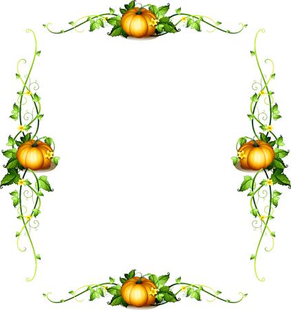 Frame-Vorlage mit Kürbis Pflanzen Abbildung