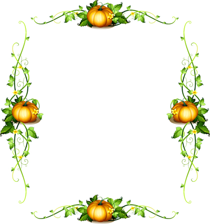 Frame template with pumpkin plants illustration