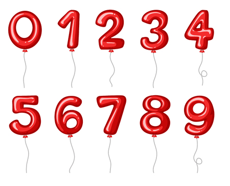 Red balloons shaped in numbers illustration