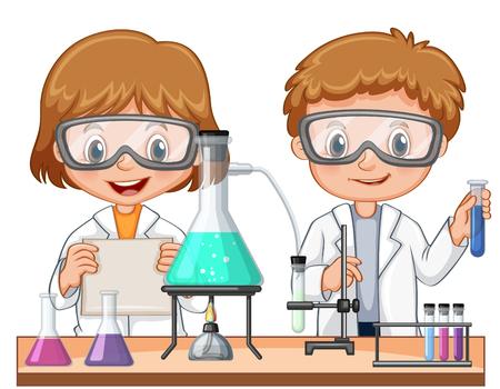 Zwei Kinder, die Wissenschaftsexperiment in der Klassenillustration tun