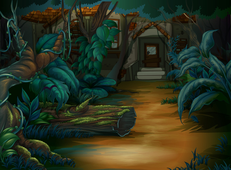 Haunted house in the deep forest illustration Illustration