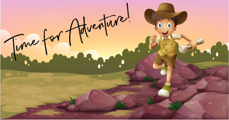 Boy camping out and phrase time for adventure illustration