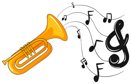 woodwind: Trumpet with music notes in background illustration Illustration