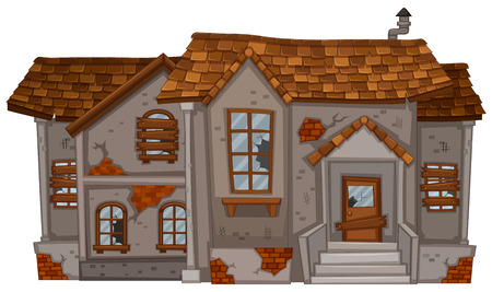 Old brick house with brown roof illustration