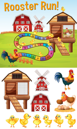 Boardgame template with chickens on farmyard illustration Illustration