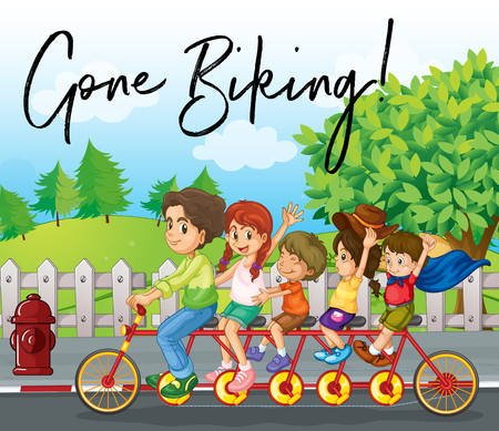 Family ride bike on road with phrase gone biking illustration