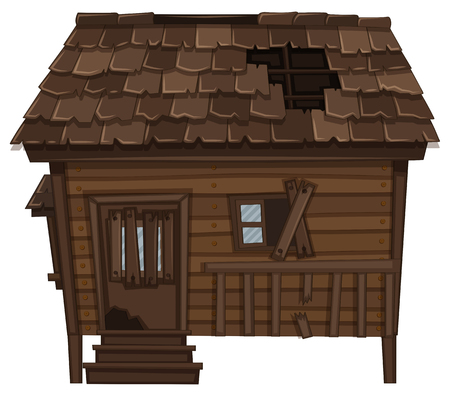 Wooden house with ruined condition illustration Illustration