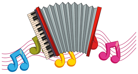 Classic accordion with music notes in background illustration Illustration