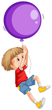floating: Little boy and purple balloon illustration